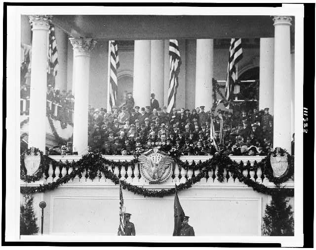 Calvin Coolidge, 30th President of the United States (1923 - 1929), making speech at his inauguration (1925)