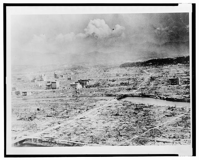 General panoramic view of Hiroshima after the bomb ... shows the devastation ... about 0.4 miles ... / official U.S. Army photo (1945)