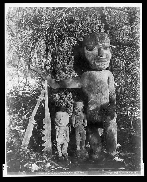 Images on Indian doctors grave, Chilkat, Alaska, c. 1895