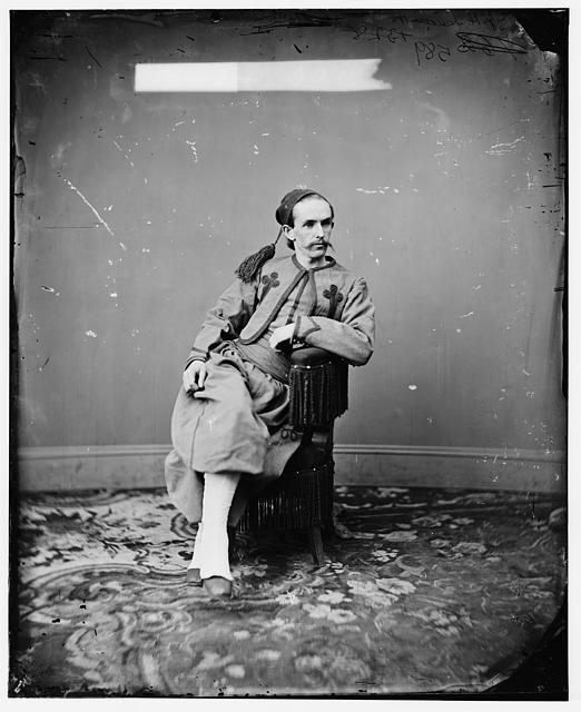 John H. Surratt in the uniform of a Papal Zouave, photographed while hiding out in Rome.