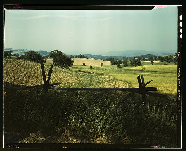 Farmland in the Taconic range, near the Hudson River Valley in New York state.  June 1943.  Photo by John Collier.