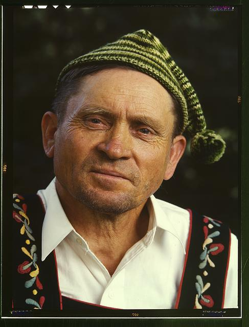 Minnesota Farmer, Kodachrome, 1940 (guide at Little Norway, Blue Mounds, Wisconsin) Arthur Rothstein, photographer