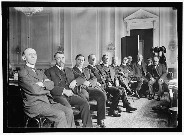 HOUSE OF REPRESENTATIVES. COMMITTEES. SPECIAL SUBCOMMITTE OF BANKING AND CURRENCY TO INVESTIGATE MONEY TRUSTS, KNOWN AS PUJO COMMITTEE. McMORRAN OFMI; HAYES OF CA; NEELEY OF KS; GUERNSEY OF ME; PUJO OF LA, CHAIRMAN; DAUGHTERY OF MO; BYRNES OF SC; A CLERK; HEALD OF DE; A CLERK; SAMUEL.  c. 1912