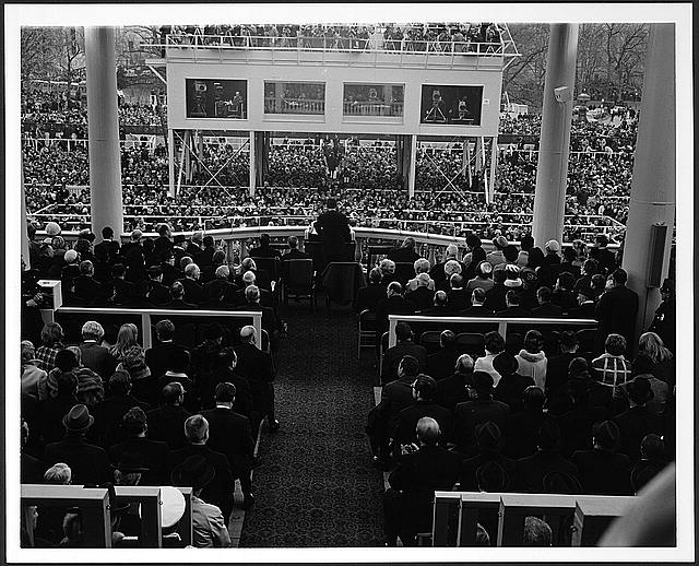 President Nixon delivering his inaugural address on the east portico of the U.S. Capitol, January 20, 1969. From the American Memory