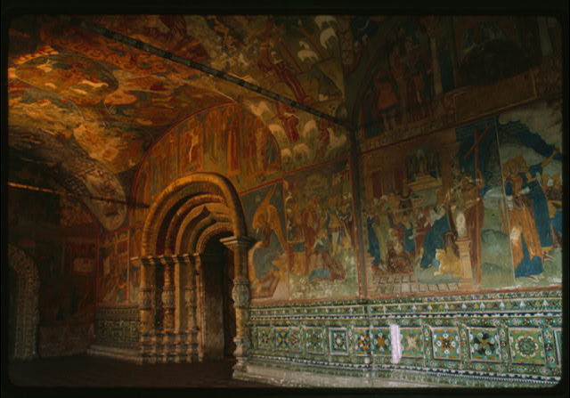Church of Elijah the Prophet (1647-50), interior, north gallery, view east, with frescoes and ceramic ornament (1715-16), Yaroslavl, Russia (c1992) (Photo: William Craft Brumfield)