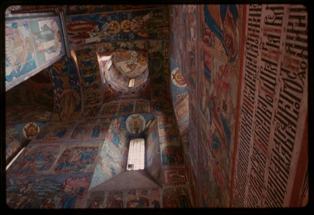 Church of Elijah the Prophet (1647-50), interior, southwest corner with frescoes (1680-81), Yaroslavl, Russia.  (c1994) (Photo: William Craft Brumfield)