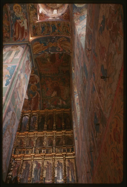 Church of Elijah the Prophet (1647-50), interior, southeast corner, with icon screen and frescoes (1680-81), Yaroslavl, Russia (c1994) (Photo: William Craft Brumfield)