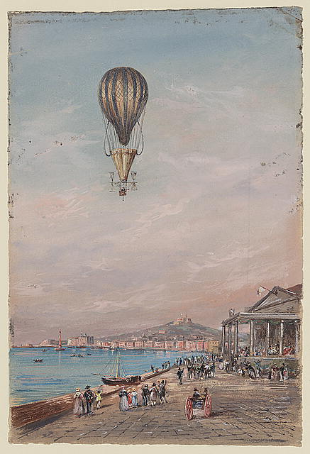 Balloon with parachute and propellers, associated with Francesco Orlandi, flying over a town harbor and spectators, possibly during an ascent in Italy between 1820 and 1850.  (Library of Congress)