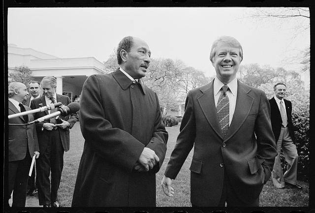 President Jimmy Carter and Egyptian President Anwar Sadat at the White House, Washington, D.C., 1977 Apr. 5.