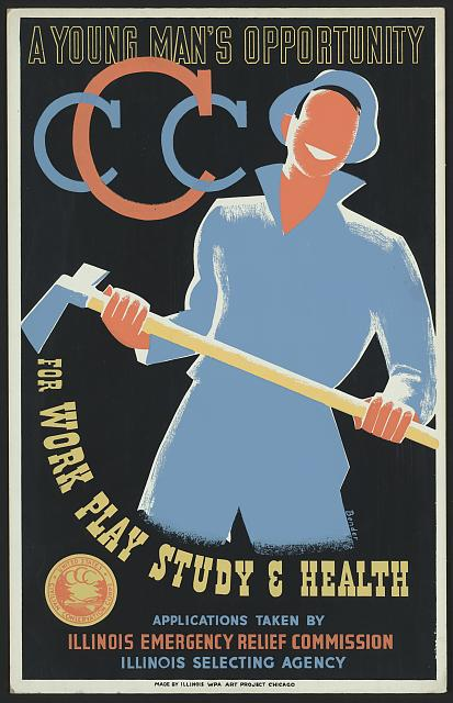Poster promoting the U.S. Civilian Conservation Corps; artist Albert M. Bender for the Illinois WPA Art Project, Chicago, 1941.