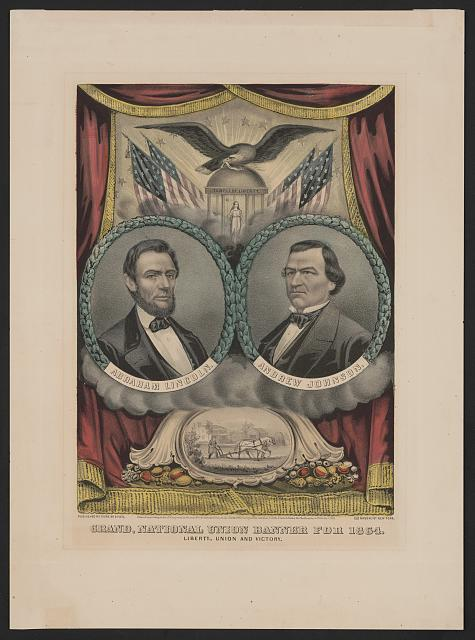 Republican Lincoln teamed up with Democrat Johnson for the Union Party ticket