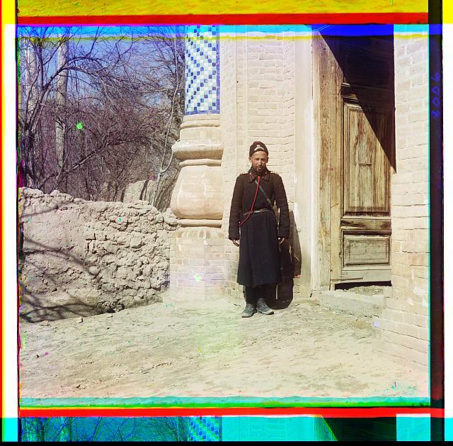 Policeman in Samarkand.  c.1905-1915  Sergei Mikhailovich Prokudin-Gorskii, photographer (Library of Congress)