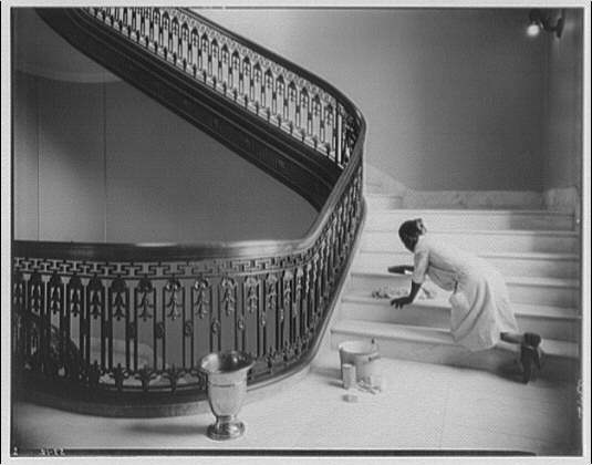 Senate Office Building. Stairway in Senate Office Building with woman washing steps, some time between 1930 and 1950.  Theodor Horydczak, photographer.  (Library of Congress)