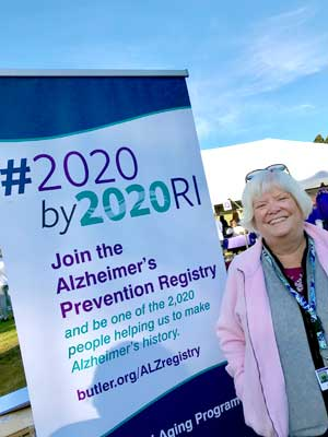 Susan Sullivan, a volunteer with the Memory and Aging Program at Butler Hospital, helps to share information about Alzheimer's research opportunities at the Alzheimer's Association Rhode Island Walk for Alzheimer's in October, 2019.