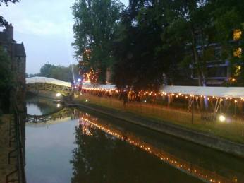 May Ball at Queens' College. Dawn, June 19, 4:35. The famous Mathematical Bridge is covered and turned into a tunnel for the night.
