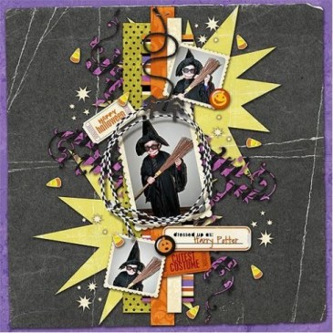 Colorpop On A Black Background Halloween Layout Ideas Scrapbooking