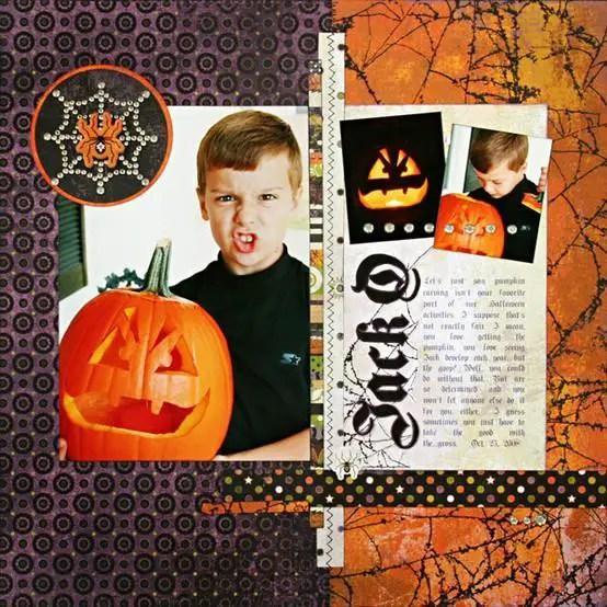 Document That Pumpkin Carving Action Halloween Layout Ideas Scrapbooking