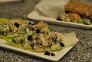 Cherry Chicken Salad Endive Scoops