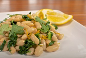Citrus Soaked Butter Beans with Spinach