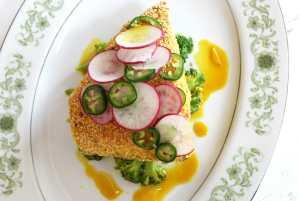 Lemon Salmon with Turmeric Broccoli Salad