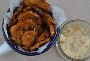Baked Sweet Potato Chips with Grainy Mustard Aioli