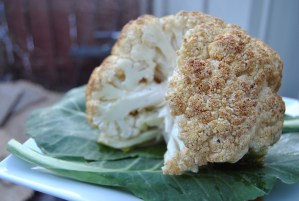 Whole Roasted Cauliflower with Raw Honey Glaze