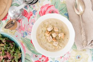 Celery Root Pear Soup with Super Tasty Croutons