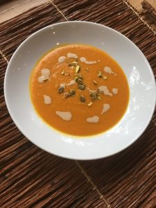 Tahini Carrot Soup with Pistachios