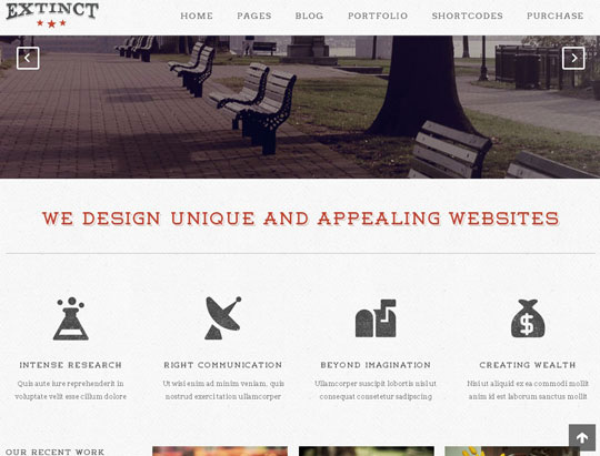extinct wordpress portfolio themes