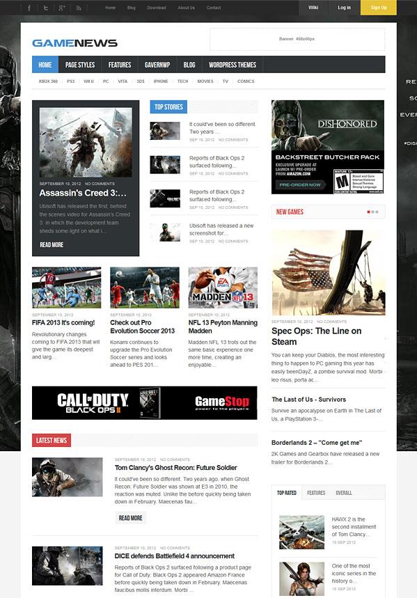 game news wordpress theme