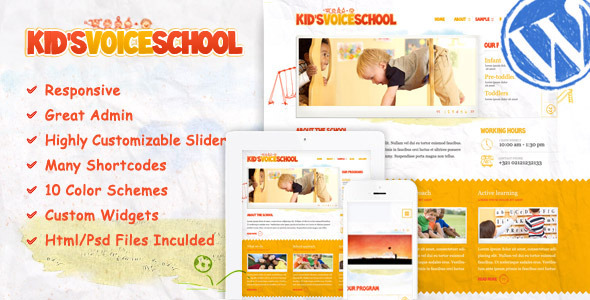kids voice school wordpress theme