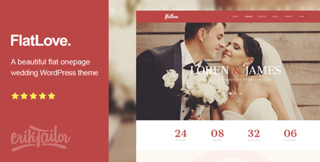 flatlove one page wedding theme