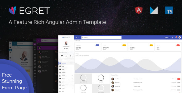 egret material design angular template