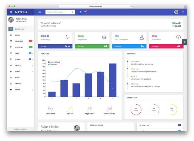 materia angular web app template