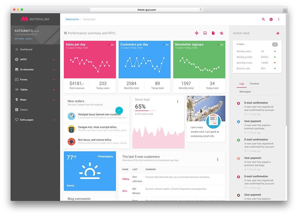 materialism web app template