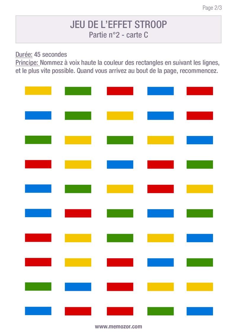 Test De Stroop En Ligne : stroop, ligne, Effet, Stroop, Imprimer, Liste, Couleurs, Memozor