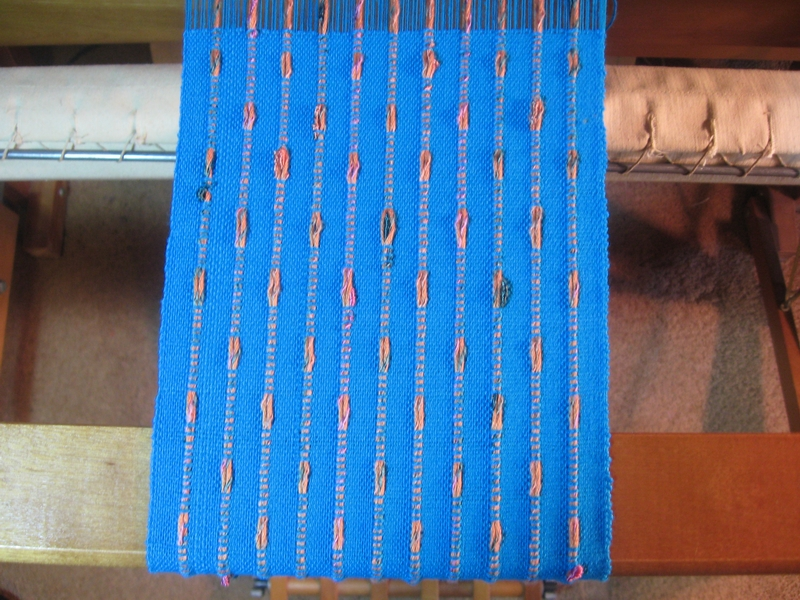 cotton and bamboo scarf on the loom