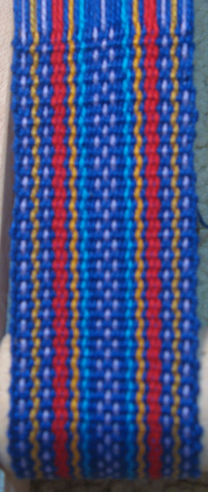 Inkle woven band inspired by Guatemalan jaspe cloth