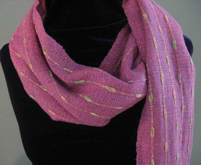 """""""Pretty in Pink"""" handwoven bamboo/cotton/metallic scarf with warp floats"""