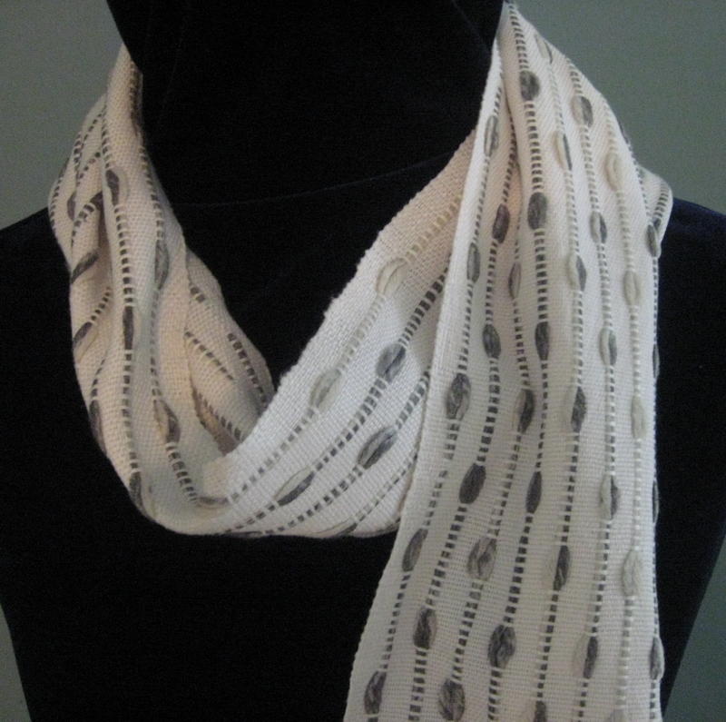 """""""White Stripes"""" handwoven cotton scarf with warp floats"""