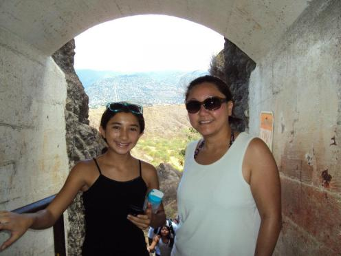 My niece and I near the tunnel's exit