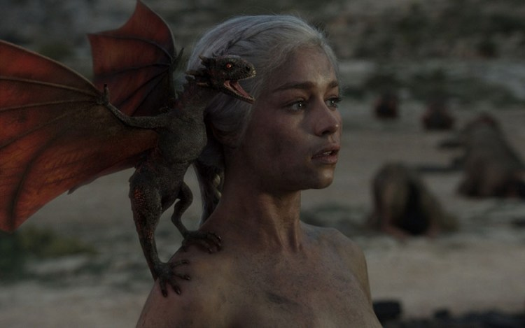 Daenerys Targaryen (Emilia  Clarke) survived after flames with her dragons