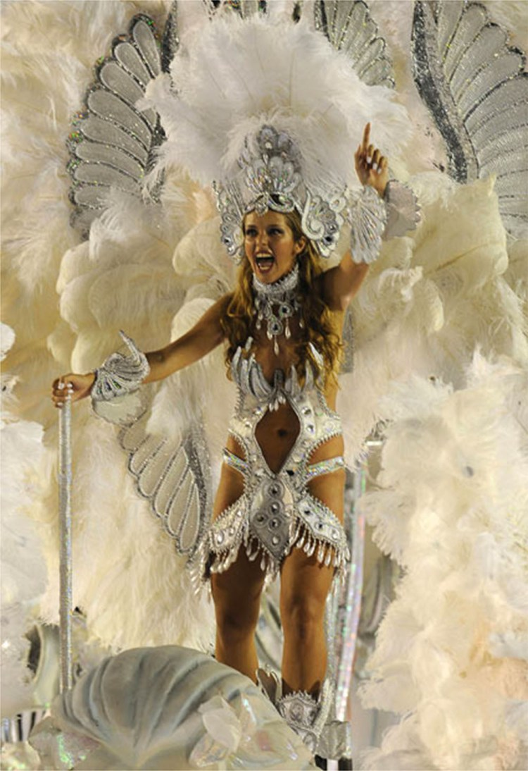 A member of the Imperatriz Leopoldinense samba school rides on a float 1000x