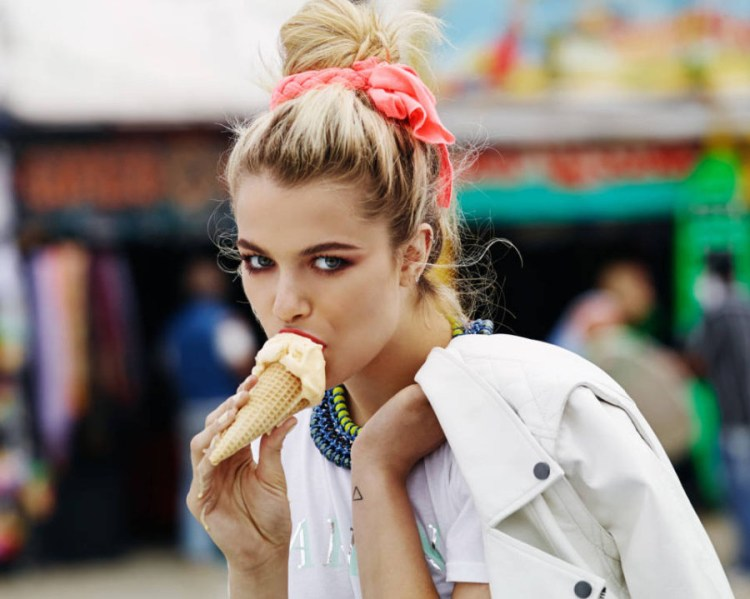 Girl with leaking ice cream cone and deep glance 900