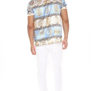Shirt in gold and blue color and let your style speak for your personality 4