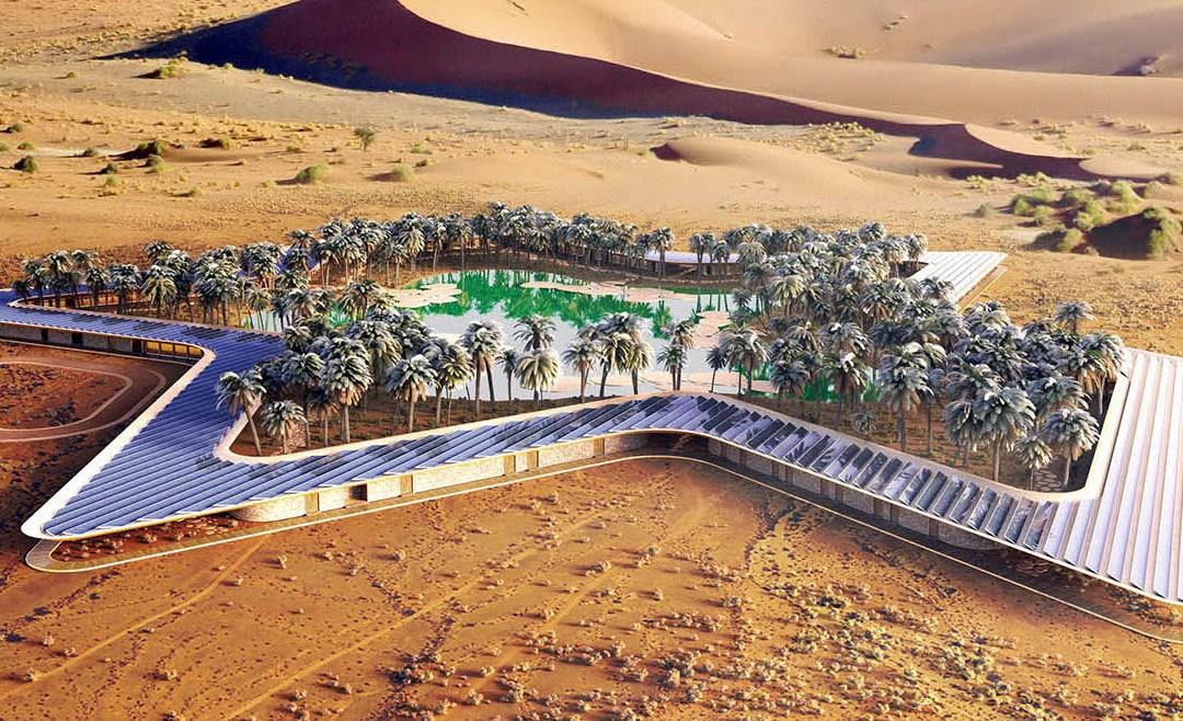 Eco-resort shaped like a Green Oasis