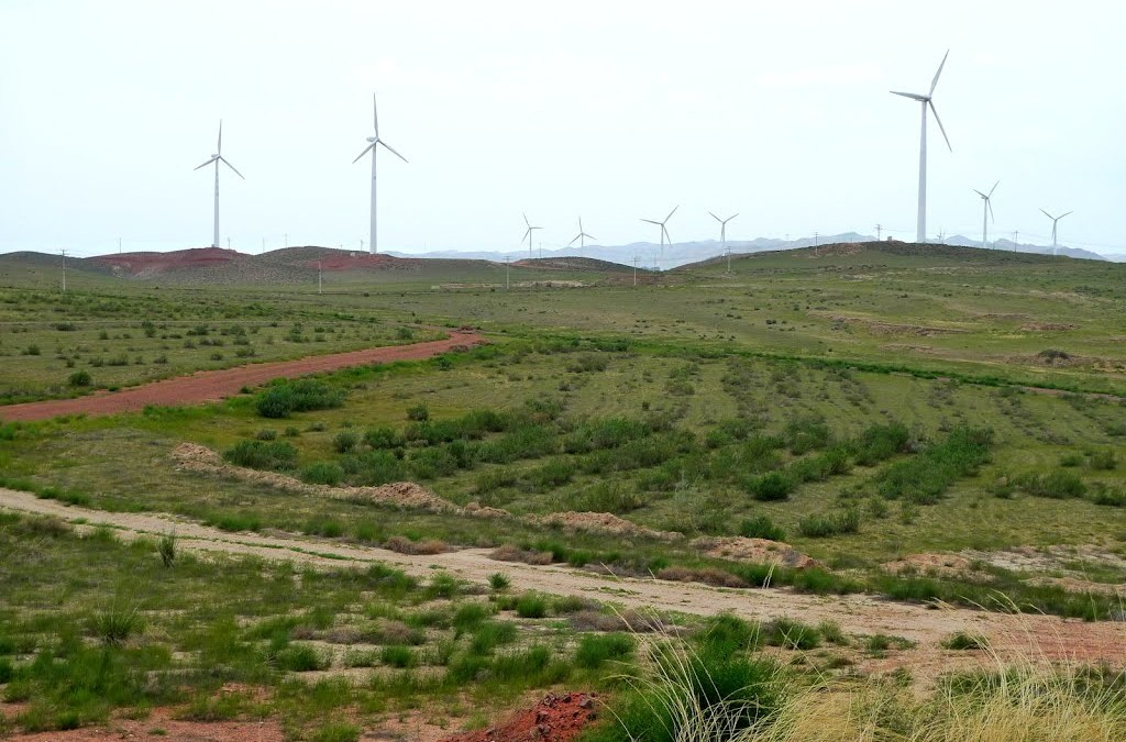 Moroccan wind farm feeding power to the country's grid system