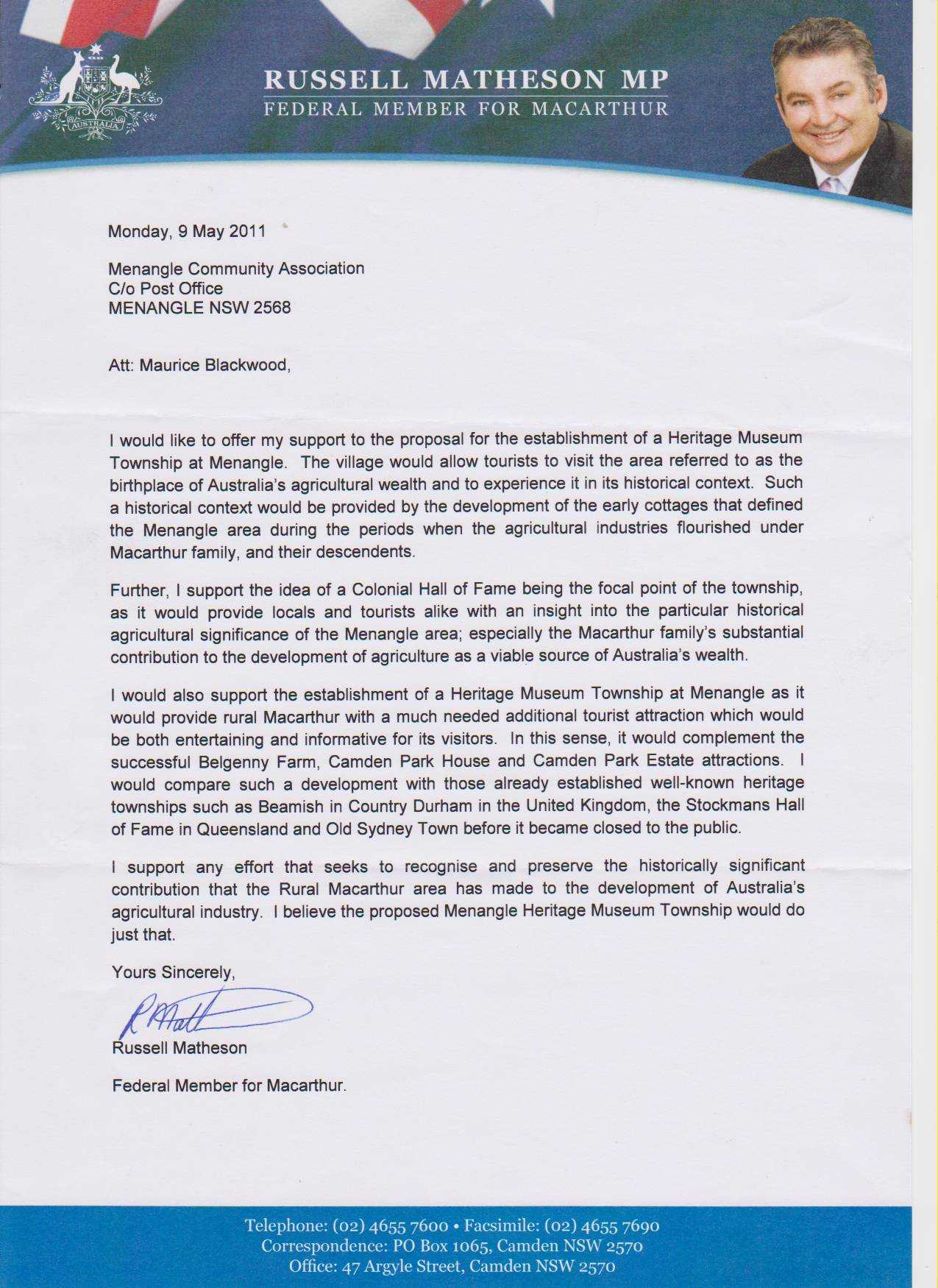 letter of support  Russell Matheson  Menangle  the
