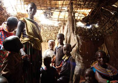 Marcy Mendelson, The Samburu Story | Inside one of the houses built by the Samburu women who traveled from their homes for the ceremony.