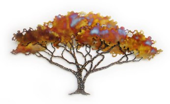 photo of poinciana tree metal sculpture